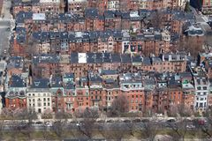 Old buildings area in Boston, USA. Old buildings area aerial view in Boston, USA Royalty Free Stock Images