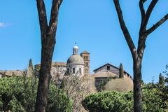 Old buildings in blue sky in rome Royalty Free Stock Images