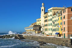 Old buildings of Boccadasse, neighborhood in Genoa, Italy Stock Image