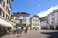 Old buildings in Bolzano, Italy. Historical, old city buildings of Bolzano in northern Italy stock image