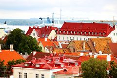 Old buildings with bright roofs in Tallinn, Estonia stock photography