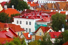 Old buildings with bright roofs in Tallinn, Estonia stock image