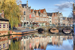 Old buildings, canal and bridge in Lier Royalty Free Stock Photos