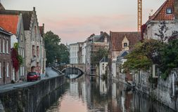 Old buildings with canal in Bruges, Belgium royalty free stock photos
