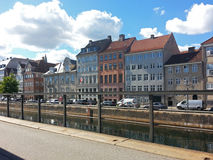 Old Buildings on Canal Embarkment  in Copenhagen, Denmark Europe Royalty Free Stock Photography