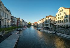 Old buildings with the canal in Ghent, Belgium. stock photography