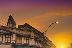 Old buildings at china town Yaowarat Road,the main street in Chinatown,Thailand Royalty Free Stock Images
