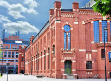 Old buildings of CHP in Lodz after revitalization. Beautiful old brick buildings of CHP in Lodz,Poland after revitalization Stock Photos