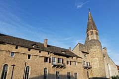 Old buildings and Church of Augustins in Cremieu royalty free stock photo