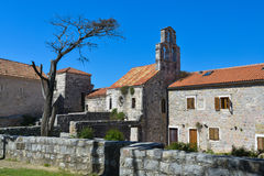 Old buildings and church in Budva, Montenegro Royalty Free Stock Image