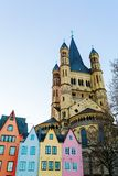 Old buildings with Gross St. Martin in Cologne. Old buildings and church Gross St. Martin in the old town of Cologne, Germany Stock Image