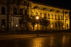 The old buildings in city Dresden at night.  Royalty Free Stock Photo