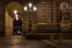 The old buildings in city Dresden at night.  Royalty Free Stock Photography