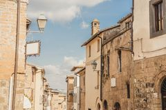 Old buildings and clear blue sky in Orvieto, Rome. Suburb, Italy royalty free stock photo