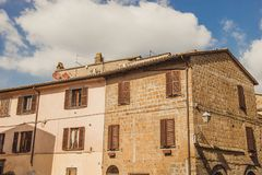 Old buildings and cloudy sky in Orvieto, Rome. Suburb, Italy stock photography