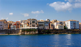 Old buildings in Corfu town. From the sea Royalty Free Stock Photography