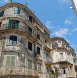 Old buildings in Corfu town. With blue sky as background Stock Photography