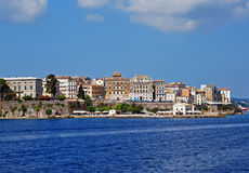 Old buildings in Corfu town. View on Corfu town with old buildings from the sea Royalty Free Stock Images
