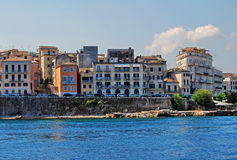 Old buildings in Corfu town. View on Corfu town with old buildings from the sea Royalty Free Stock Photo