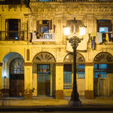 Old buildings in downtown Havana illuminated at night Royalty Free Stock Images