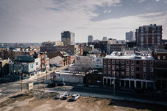 Old buildings and an empty lot, seen from the Ben Franklin Bridg Royalty Free Stock Image