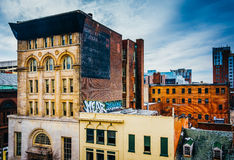 Old buildings on Eutaw Street, seen from a parking garage in Baltimore, Maryland. Old buildings on Eutaw Street, seen from a parking garage in Baltimore royalty free stock photo