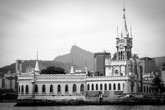 Old buildings on Fiscal island. Black and white scenic view of old buildings on Fiscal Island in Guanbara Bay, Rio de Janeiro, Brazil Royalty Free Stock Image