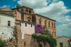 Old buildings and flowering trees with a countryside landscape at Caceres. Old buildings and flowering trees with a countryside landscape in the background at royalty free stock photo