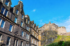 Old buildings at Grass market in Edinburgh, Scotland Royalty Free Stock Images