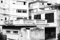 Old buildings Havana. Black and white image of old buildings needing restoration in Havana, Cuba on April 27, 2016 Royalty Free Stock Image