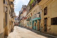 Old buildings in Havana, Cuba. Old pastel colored buildings in Cuba Royalty Free Stock Images