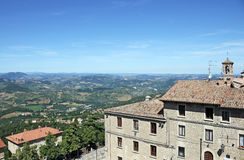 Old buildings and hills San Marino Royalty Free Stock Image