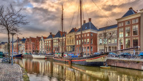 Old buildings on Hoge der Aa Quay. In Groningen city centre at sunset, Netherlands Royalty Free Stock Photography
