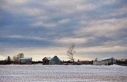 Free Old Buildings In Agricultural Winter Landscape Stock Images - 83890704