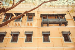 Old buildings of indian city Mysore. Traditional style of design with wooden balconies, India. Royalty Free Stock Photos