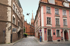 Old buildings at the intersection of streets Pils and Anglikanu. Riga Royalty Free Stock Photography