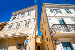 Old buildings in Levkas city Royalty Free Stock Images