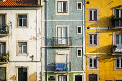 Old buildings in Lisbon, Portugal. Detail of the façade of old buildings in Alfama, Lisbon, Portugal Stock Image
