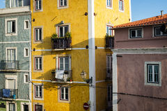 Old buildings in Lisbon, Portugal. Detail of the façade of old buildings in Alfama, Lisbon, Portugal Royalty Free Stock Images