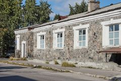 Old buildings made of natural stone. Kandalaksha. Russia Stock Photography