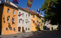 Old buildings in medieval city of Sighisoara (Tran Stock Photo