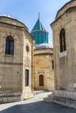 Old buildings of the Mevlana Museum in Konya. Exterior courtyard. stock image