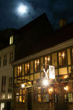 Old buildings in the moonshine. In Odense Royalty Free Stock Photos