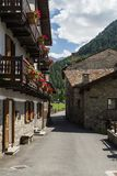 Old buildings near mountains royalty free stock photos