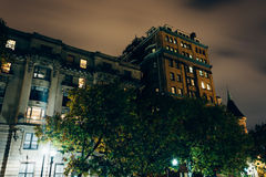 Old buildings at night in Mount Vernon, Baltimore, Maryland. Stock Image