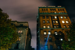 Old buildings at night in Mount Vernon, Baltimore, Maryland. Stock Photography