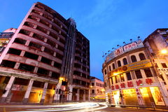 Old buildings night view in Macau.. Royalty Free Stock Photography