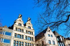 Old buildings at the Old Market Square in Cologne. Gables of old buildings at the Old Market Square in Cologne, Germany Stock Images