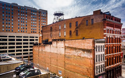 Old buildings and a parking garage in Baltimore, Maryland. Royalty Free Stock Photography