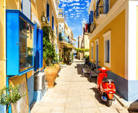 Old buildings on pictorial port of Symi island in Greece royalty free stock image